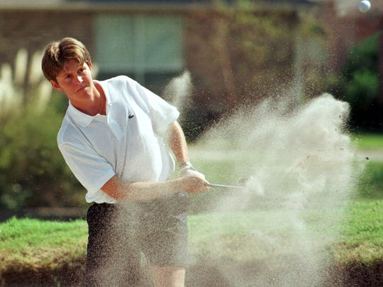 -  -10-14-98, p5d' UWF's Stuart Manley of West Florida hits out of a bunker at the 12th hold Tuesday during the final round of the KSL Fairways collegiate golf touranment at Tiger Point Golf and Country Club. Manley was competing as an individual. UWF finished fifth in the 12-team tournament, which was won by Bethune-Cookman. Results, 2D.