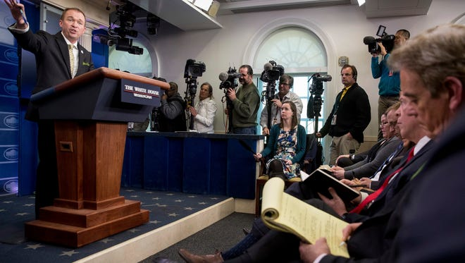 Budget Director Mick Mulvaney speaks about President Donald Trump's budget proposal for the coming fiscal year during daily press briefing at the White House, in Washington, Thursday, March 16, 2017.