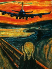 Chappaqua resident Cristina Shih held up a mock-up of Edvard Munch's painting, The Scream, with an approaching airliner, to characterize her feelings about airline traffic.