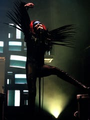 """Manson's new album is """"The Pale Emperor."""" He is shown above performing at Continental Airlines Arena on April 6, 1999."""