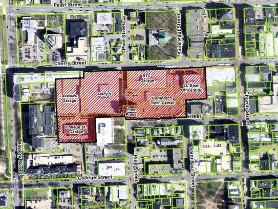 A map of downtown Burlington shows the area (shaded