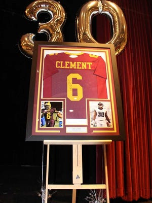 A display at Glassboro High shows Corey Clement's high school jersey on the Glassboro team and photos of the alumnus on the field with the Philadelphia Eagles.