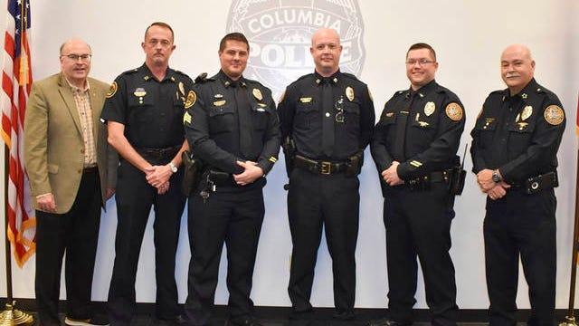 From left, City Manager Tony Massey, Captain Wayne Prince, Sgt. Brandon Schroeder, Captain Joshua Davis, Lt. Brian Adams and Police Chief Tim Potts.