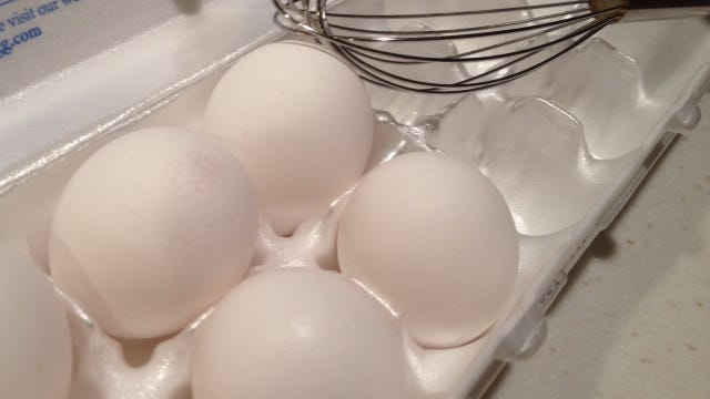 Raw shell eggs should not be stored over ready-to-eat food.