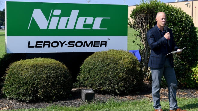 Kevin Newman, Vice President of Leroy-Somer Americas, announces the new Nidec Corporation acquisition of Leroy-Somer, Tuesday, July 18 in Lexington.