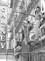 Workers give a facelift to the Club Cal Neva in the mid-1950s. It may be impossible now for the economy to grow at post-WWII levels, say economists.