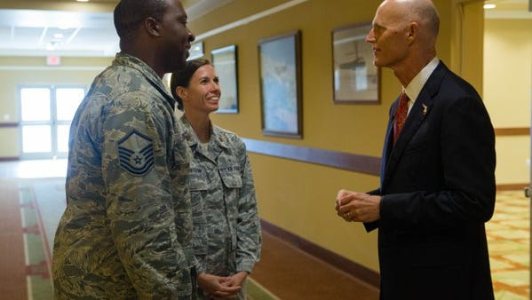 Gov. Rick Scott visited Hurlburt Field and spoke with airmen Monday in celebration of the completion of the U.S. 98/Cody Avenue interchange project in Okaloosa County.