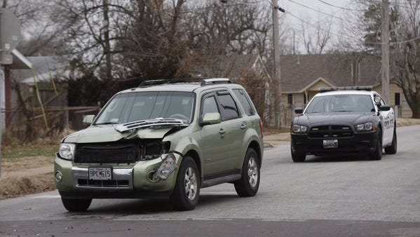 A car involved in the accident Tuesday morning.
