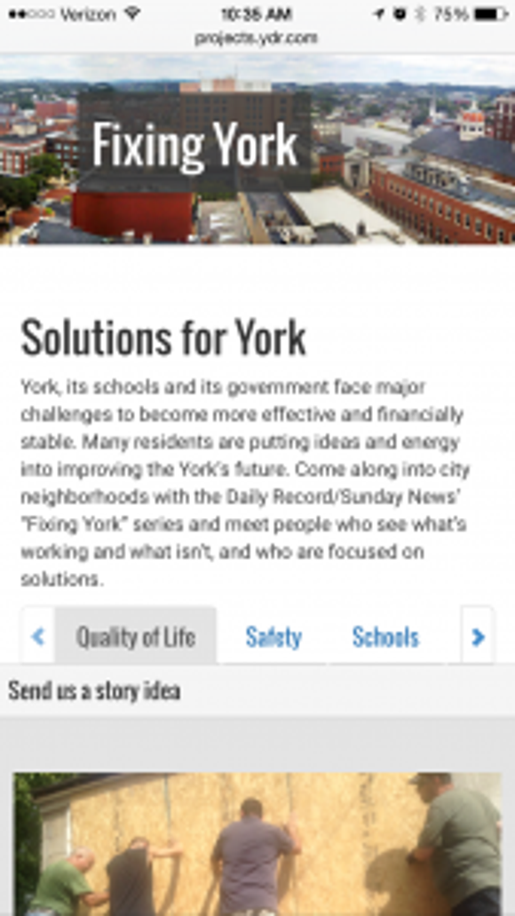 The new, mobile-friendly Fixing York page.