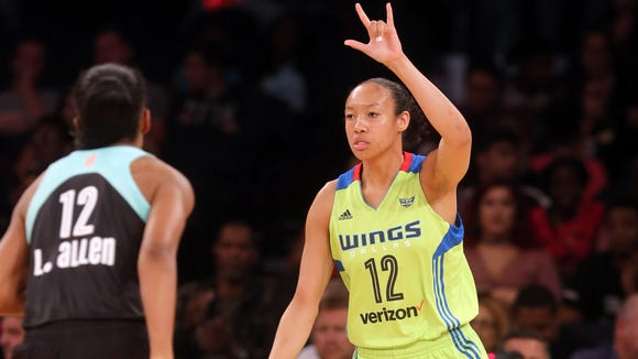 Ossining alumna Saniya Chong calls out a play as she brings the ball up court during a WNBA game between the Dallas Wings and the New York Liberty at Madison Square Garden June 2, 2017. After graduating from Ossining and playing college basketball at UConn, Chong was drafted by Dallas in the third round of the 2017 WNBA draft.