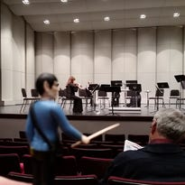 """Mr Spock """"conducts"""" at the Richmond Symphony Orchestra."""