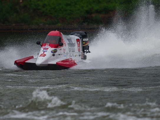 Racers compete during the Thunder on the Cumberland championship races June 18, 2017.