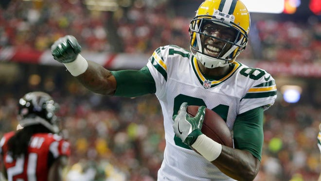 Green Bay Packers wide receiver Geronimo Allison (81) reacts after his first half touchdown during the Green Bay Packers NFL game against The Atlanta Falcons, Sunday, October 30, 2016 at the Georgia Dome in Atlanta Georgia.
