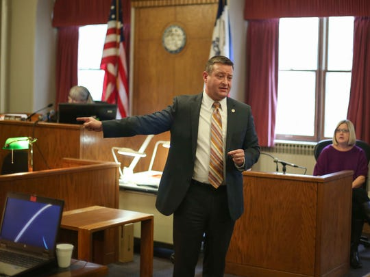 Polk County prosecutor Mike Salver delivers his opening remarks as the trial against Joe Anthony Lopez begins on Friday, Jan. 8, 2016, in Des Moines. Lopez is being tried in the death of a young child.