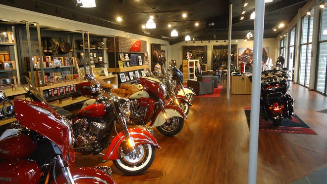 Motorcycles on display at the newly opened Indian Motorcycle in Shreveport.