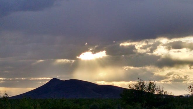 Katherine Peterson took this photo near Black Mountain to the northwest of Deming. The photo was taken at 5:45 p.m. in April. Peterson lives out near the mountain and has drawn up a grassroots campaign to secure the mountain under state or federal protection. She believes the mountain is an dormant volcano.