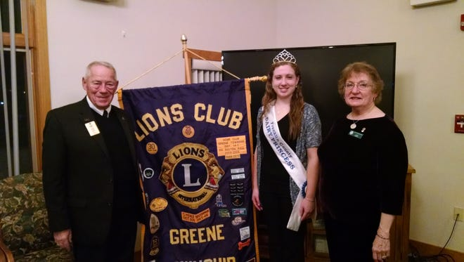 "2015 Franklin County Dairy Princess Grace Crider recently visited the Greene Township Lions Club, where she presented a skit portraying Mary Poppins in ""Let's Go Drink Some Milk"" and a slideshow of her past year's activities as dairy princess. Pictured, left to right, are Club Secretary and District Membership Coordinator Dalton Paul, Dairy Princess Grace Crider and Club President Jenny Daniels."