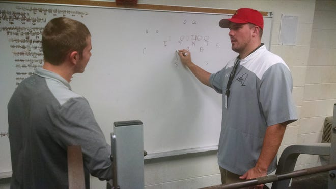 Always time for a little more teaching football for Ted Hardenstine, Newark Valley's first-season coach and Elite 24 Coach of the Year.
