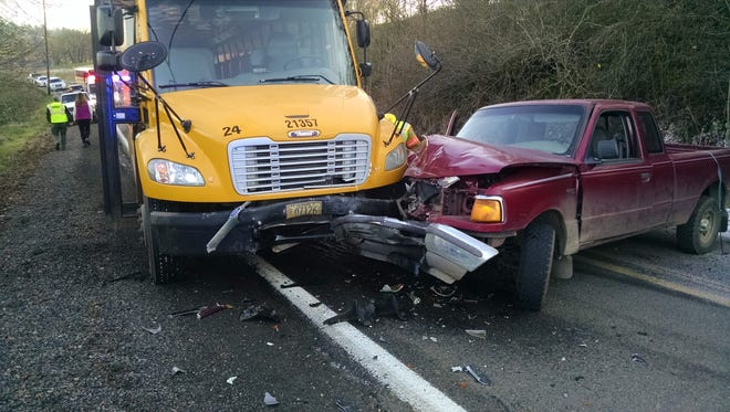 Marion County Sheriff's deputies responded to a non-injury school bus crash on Sunnyview Road NE on Monday, Dec. 11, 2017.