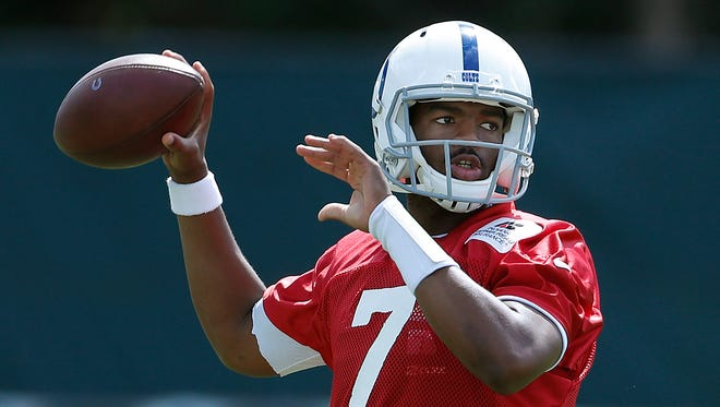 Indianapolis Colts quarterback Jacoby Brissett (7) goes through drills during their practice at the Colts complex Thursday, Sept, 14, 2017.