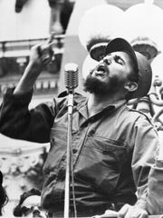 Cuba's leader Fidel Castro speaks to a crowd during