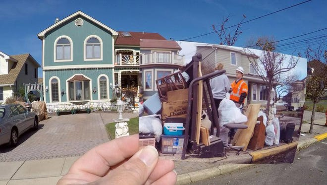 A home on Washington Avenue in Point Pleasant Beach in October 2015. The photo shows the same location three years earlier, just after superstorm Sandy.