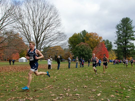 Watkins Glen's Patrick Hazlitt leads the way during the boys Class C race at the Section 4 cross country championships Nov. 3 at Chenango Valley State Park.