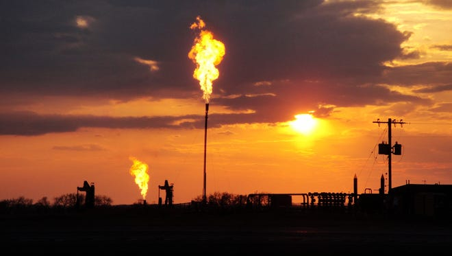 The Bakken oil and gas field in North Dakota produces methane emissions during fossil fuel extraction.