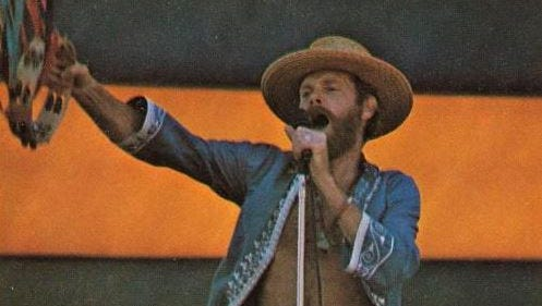 Mike Love of the Beach Boys performs at Hughes Stadium on July 6, 1975.