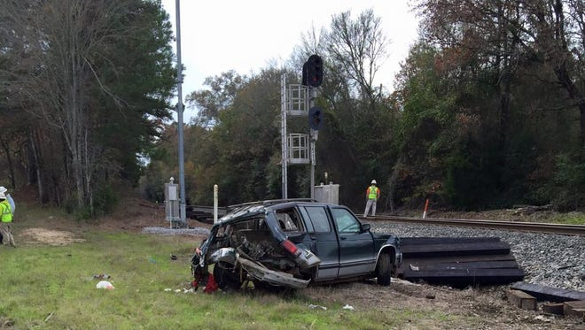 An SUV hit by an AMTRAK when officials say the driver tried to beat the train.