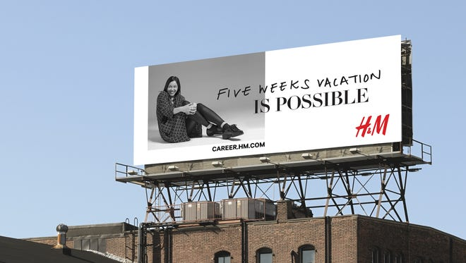 A mock-up of a billboard for H&M's campaign to recruit store employees.
