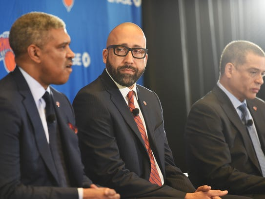 Knicks new head coach David Fizdale (C) and Scott Perry