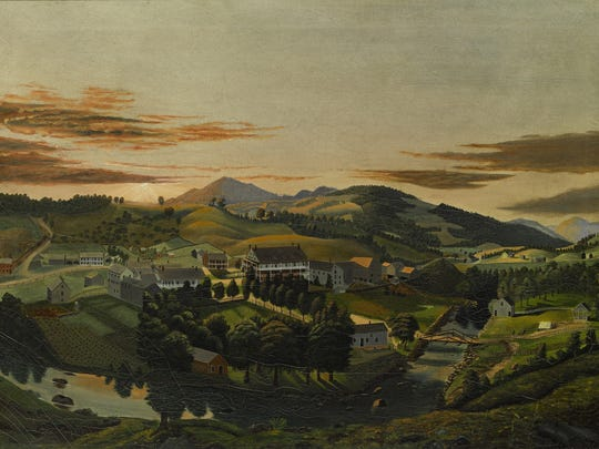 James Hope (1818 - 1892) Clarendon Springs, Vermont oil on mattress ticking 26 1/4 by 36 1/4 in. circa 1853 Est. $30/50,000 Sold for $87,500
