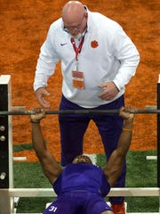 Clemson Tigers Ryan Carter participates during Clemson's Pro Day events at the Clemson Football Indoor Facility.