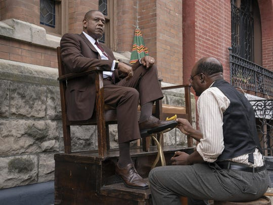 """This image released by Epix shows Forest Whitaker as Bumpy Johnson, left, in a scene from """"Godfather of Harlem,"""" premiering Sept. 29. (David Lee/Epix via AP)"""