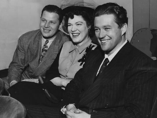 Jack Carson (left); Carson's wife, Kay St. Germain