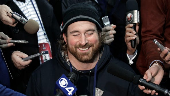 New England Patriots tackle Matt Light laughs at a