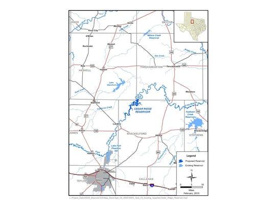 Proposed location of Cedar Ridge Reservoir