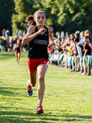 Muskego freshman Kate Sperka finishes strong to win the West Allis Hale Leighton Betz Invitational cross country meet at Greenfield Park on Friday, Sept. 1, 2017.