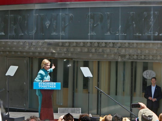 Democratic Presidential candidate Hillary Clinton speaks outside the former Trump Plaza during a campaign stop in Atlantic City, NJ, Wednesday, July 6, 2016