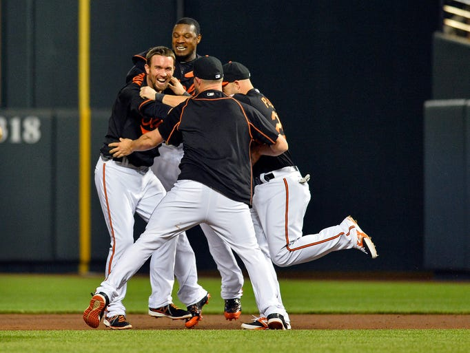 May 29: Orioles shortstop J.J. Hardy celebrates with