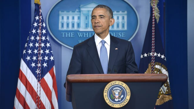 President Obama speaks during a press conference in the Brady Briefing Room of the White House on April 23, 2015.