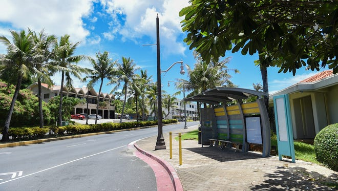 A Tumon bus shelter in front of the Guam Visitors Bureau in this Aug. 8, 2017, file photo. The Guam Visitors Bureau closed fiscal2019 with a decrease in net positionof $2.6 million, according to the Office of Public Accountability.