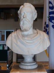 The bust of Charles Kline Landis sitting in Vineland