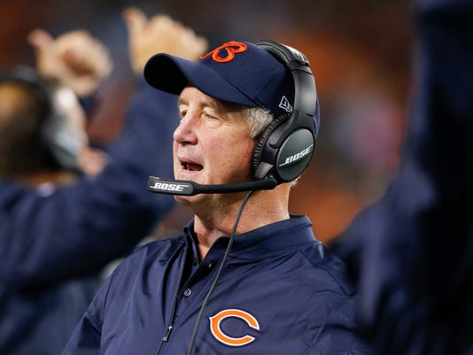 ADVANCE FOR SATURDAY, SEPT. 10, 2016 - FILE - In this Sept. 1, 2016, file photo, Chicago Bears head coach John Fox works the sideline in the second half of an NFL preseason football game against the Cleveland Browns in Cleveland. Fox is very familiar with Houston Texans new quarterback Brock Osweiler after coaching him in Denver in the quarterback's first three seasons in the NFL (AP Photo/Ron Schwane, File)