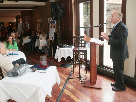 New Brunswick Mayor Jim Cahill speaks after accepting an award from Court Appointed Special Advocates (CASA) of Middlesex County at a Toast Event to honor Cahill at Steakhouse 85 in New Brunswick on May 1, 2016.