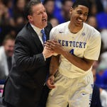 Kentucky Wildcats head coach John Calipari celebrates with guard Charles Matthews after a defensive stop in the second half against the Georgia Bulldogs during the SEC conference tournament at Bridgestone Arena in March.