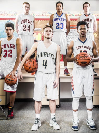 From left, Dover's Najah Fink, Central York's Jared Wagner, Eastern York's Broguen Nicholas, Spring Grove's Eli Brooks, William Penn's Montrel Morgan, Hanover's Kyle Krout and Northeastern's Kobi Nwandu.  GameTimePA's all-star players. Picture taken Monday, March 14, 2016, at York Suburban.