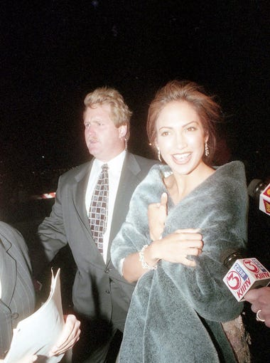 """Jennifer Lopez at the """"Selena"""" movie premiere March 14, 1997 at Tinseltown in Corpus Christi, TX."""