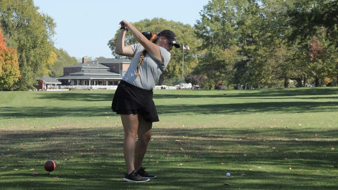 Kewanee sophomore Mya Mirocha lines up for her final tee shot of the Class 1A regional on the 18th hole at Baker Park. Mirocha was the medalist on Wednesday and led her team to the regional title.